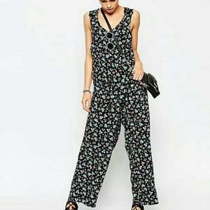 Asos oversized floral jumpsuit with pockets sz 14